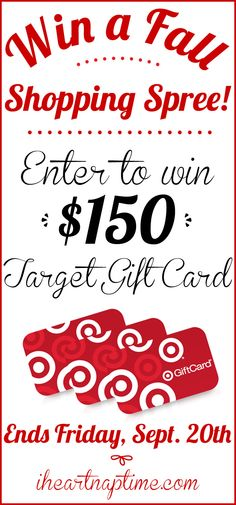 Enter to win a $150 TARGET gift card on iheartnaptime.com! #giveaway