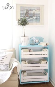 painted crates as drawers.