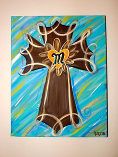 Cross Canvas Painted Can be PERSONALIZED Any colors and multiple sizes on Etsy, $22.00
