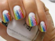 colorful design, nail polish, rainbows, melted crayons, summer nails