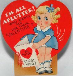 J113 40s Pretty Little Girl in Ringlets Vintage Diecut Valentine Card | eBay