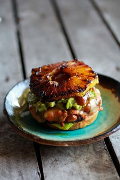 Hawaiian BBQ Salmon Burgers with Coconut Caramelized Pineapple