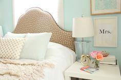 bedroom colors - aqua, gold & lucite
