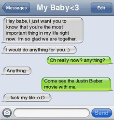 Funny text message Hilarious Texts, Funny Things,  Website'S, Justin Bieber Texts Messages, Funny Stuffd, Humor, Polyvore, Funny Texts Messages, Boyfriends