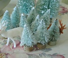 10 bottle brush trees LIGHT BLUE  teeny tiny mini  vintage shabby cottage style on Etsy, $9.50