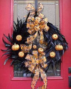 Black Feather and Glitter Pumpkin Wreath, handmade USA, Kathy's Holiday, Ocean City, NJ