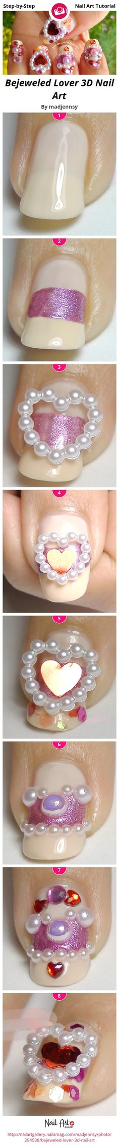 Bejeweled Lover 3D Nail Art by madjennsy from Nail Art Gallery nail art tutorials, nail arts, nail design, 3d nails, art nails