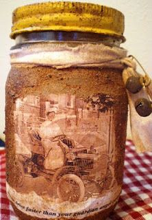 Jars are embellished with rusty keys or bells or pins!
