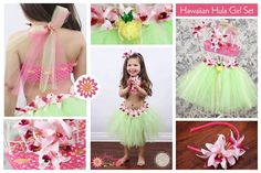 Hawaiian Hula Girl Tutu Set with Crochet Halter Top and Matching Flower Headband - Birthday, photo prop, hawaii vacations, wedding. $45.20, via Etsy.