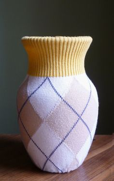 Yellow and Gray Argyle Sweater Vase