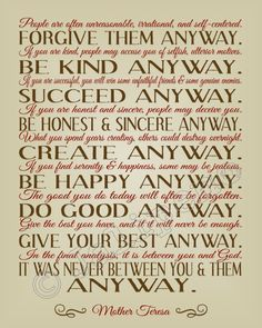 Mother Teresa Do It Anyway Quote wall art, mother teresa do it anyway, bible quotes about faith, mother teresa quotes, home office decor, religious inspirational quotes, christian mother, home offices, live
