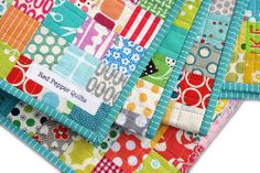 Red Pepper Quilts: Postage Stamp Quilt - This would make such cute pillows or placemats!