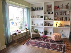 Living Room Bookshelves. Karen & Deborah's Cherrywood Renovation house tour. house tours, wall shelving