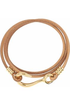 10-karat gold-plated and leather wrap bracelet