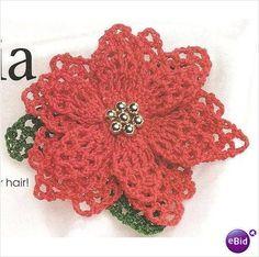 Crochet Pin Pattern Poinsettia Pin