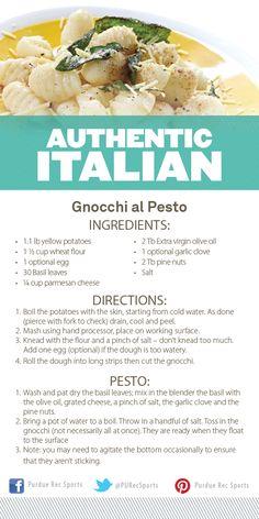 Gnocchi al Pesto Recipe from Purdue Rec Sports Authentic Italian Cooking Demonstration. #MoveMoreAchieveMore