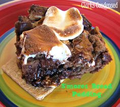 Easy and delicious smore bread pudding -- perfect for those long summer nights delici food, food recipes, soft foods, smore bread, delici smore, bread pudding recipes, bread puddings, summer night, bread pudding smore