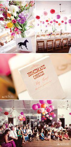 Wedding decor with pom poms/ the Nichols