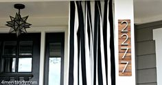 Modern house numbers.  Wood slats are made from paint stir sticks.