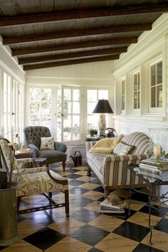 . interior, cottag, sun porches, painted wood floors, ceilings, back porches, enclosed porches, sunroom, painted floors