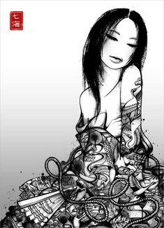 illustrations à l'encre de Nanami Cowdroy