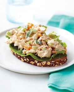 Apricot-Basil Chicken Salad Dried apricots, fresh basil, and slivered almonds make this chicken salad worthy of an elegant shower luncheon or a pretty picnic basket. Combine mayonnaise, Greek yogurt, paprika, minced garlic, and champagne vinegar to make the tangy and flavorful dressing.