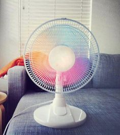 Well, this is sure to #brighten up any day! Inspiration: Turn a White Fan into a #Rainbow Fan #DIY