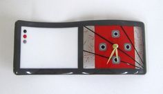 Red & Grey Wave Fused Glass Clock/Memo Board by JanuaryMayDesigns