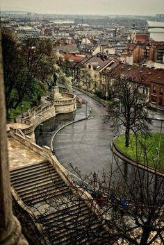 #Budapest, #Hungary.  Stairs towards Budapest Castle.