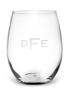 Monogrammed White Wine Stemless Glass Set