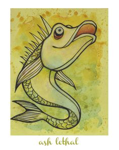 Guppy // Original Fish Ink Drawing on Lime Green Cardstock by Ash Lethal $25.00