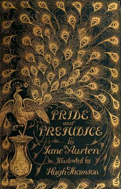 peacock feathers, vintage books, vintage graphic, pride & prejudice book cover, jane austen, cover art, beautiful book cover, antique books, vintage book covers