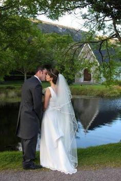 Anita and John outside St. Finbarr's Oratory, Gougane Barra, Co. Cork, Ireland #wedding #bride #groom #romantic