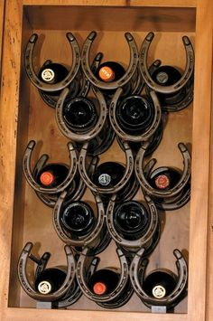 Horse Shoe Wine Rack Recessed In The Wall.