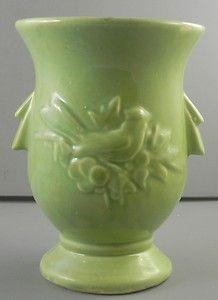 McCoy Vase Bird & Berries Green Vintage