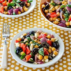 Roasted Garbanzo and Vegetable Salad Recipe with Garlic, Feta, Olives, and Basil from Kalyns Kitchen