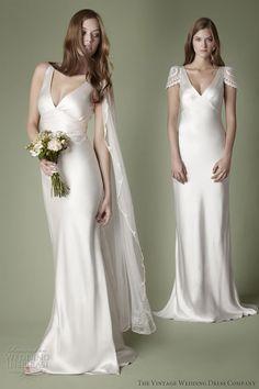 vintage wedding dress company 1930s style bias cut slip slipper satin dress sleeves