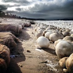 Enormous ice balls line the shores of Lake Michigan in this Feb. 21 photo by Cedar, Mich., resident Leda Olmsted.  CREDIT: Leda Olmstead