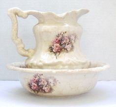 Bowl and Pitcher Rose Bouquet Athena California by RamblinRanch, $52.00