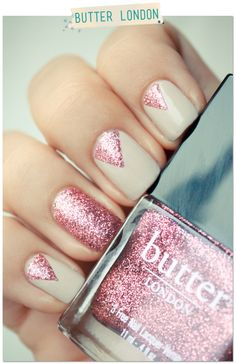 "Butter london, ""Rosie Lee"" & Essie, ""Sand Tropez"". Nude and pink glittered nail art <3"