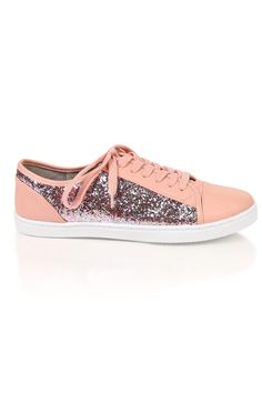 Deb Shops #pink low top sneaker with #glitter
