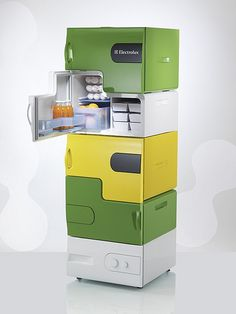 "The Perfect Fridge for Roomates""Stefan Buchberger created this innovative fridge for Electrolux's Design Lab 2008. Consisting of a base station and up to 4 separate stackable modules, each section is removable and customizable with various skins, a bottle opener and a whiteboard."""