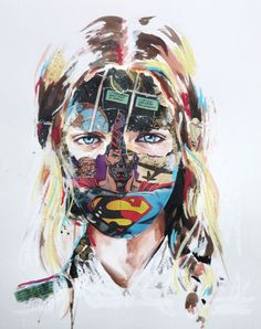 Sandra Chevrier's mixed media on paper works are just that, heroines displaying a delightful hybrid of strength and softness.  Brushstrokes of paint in varying densities create dynamism that's pure dynamite. media magic, sandra chevrier, comic book, collages, mix media, mixed media art, design, illustr, portrait