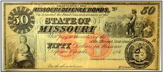 "A photo of a $50 Missouri defense bond issued during the Civil War. Read more on the GenealogyBank blog: ""William Richmond Family Bible: Horace Richmond (1852-1940)."" http://blog.genealogybank.com/william-richmond-family-bible-horace-richmond-1852-1940.html"