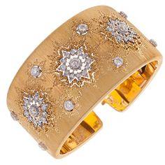 Buccellati White and Yellow Gold Diamond Cuff Bracelet | 1stdibs.com