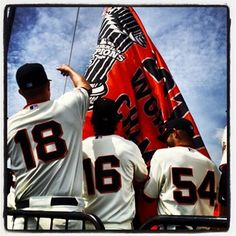 The #SFGiants Raise the 2012 World Series Champion flag on Opening Day (April 5, 2013)
