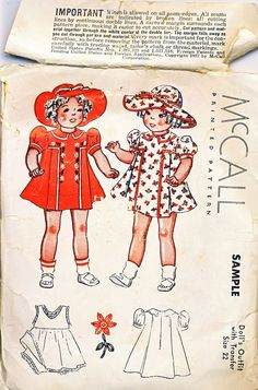 McCall Pattern Shirley Temple Doll Special Sample Size Vintage 1937 from barbgrrlzdolls on Ruby Lane
