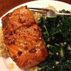 Pepper-Honey Cedar Plank Salmon -- love Salmon almost anyway. This recipe uses a marinade of pinapple juice, lemon, honey combined with cayenne and black pepper, a touch of garlic.
