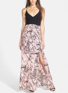 Can't get enough of this pink marble print v-neck maxi dress!