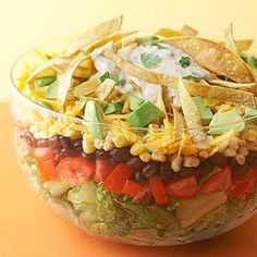 Layered Southwestern Salad with Tortilla Strips